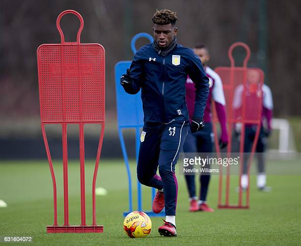 Aaron Tshibola of Aston Villa during a training session at the club's training ground at Bodymoor Heath on January 13 2017 in Birmingham England