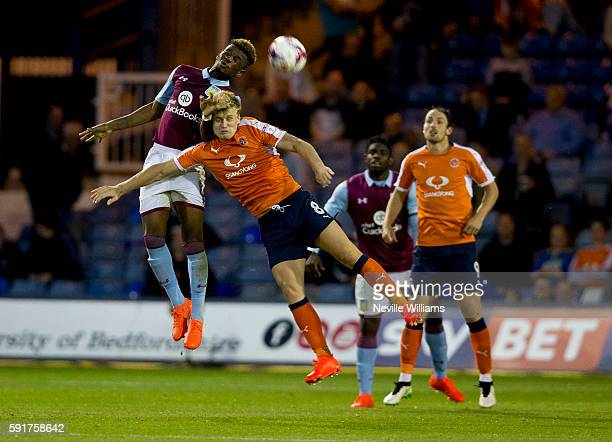 Aaron Tshibola of Aston Villa during the EFL Cup first round match between Luton Town and Aston Villa at Kenilworth Road on August 10 2016 in Luton...