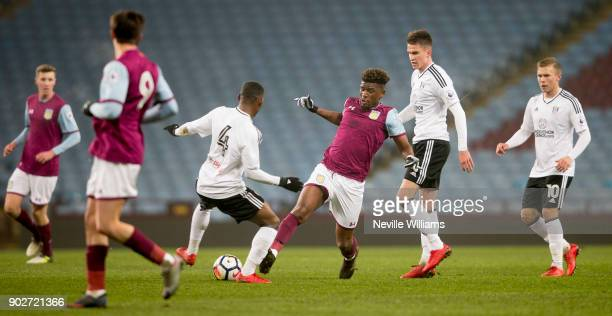 Aaron Tshibola of Aston Villa during the Premier League 2 match between Aston Villa and Fulham at Villa Park on January 08 2018 in Birmingham England