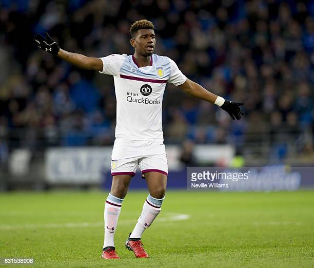 Aaron Tshibola of Aston Villa during the Sky Bet Championship match between Cardiff City and Aston Villa at the Cardiff City Stadium on January 02,...