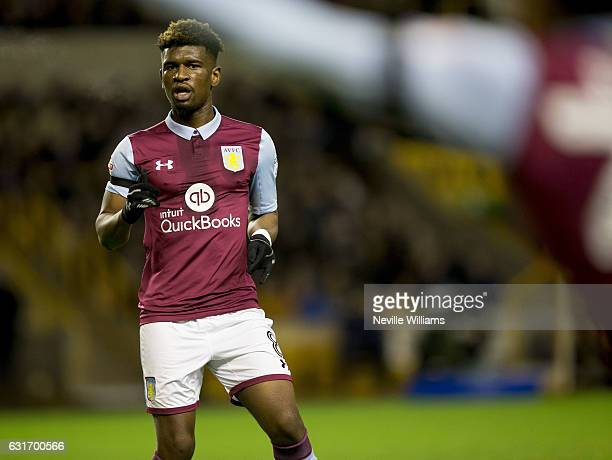Aaron Tshibola of Aston Villa during the Sky Bet Championship match between Wolverhampton Wanderers and Aston Villa at the Molineux on January 14...