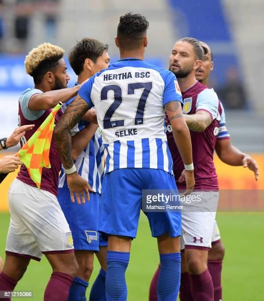 Aaron Tshibola of Aston Villa Genki Haraguchi Davie Selke of Hertha BSC Henri Lansbury and Gabriel Agbonlahor of Aston Villa during the game between...