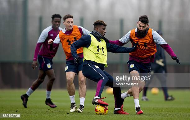 Aaron Tshibola of Aston Villa in action during a training session at the club's training ground at Bodymoor Heath on January 20 2017 in Birmingham...