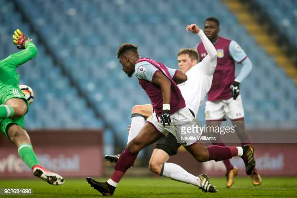 Aaron Tshibola of Aston Villa scores during the Premier League 2 match between Aston Villa and Fulham at Villa Park on January 08 2018 in Birmingham...