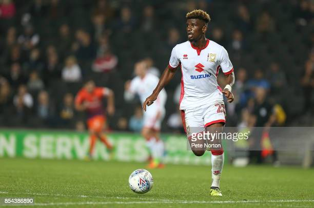 Aaron Tshibola of Milton Keynes Dons in action during the Sky Bet League One match between Milton Keynes Dons and Northampton Town at StadiumMK on...