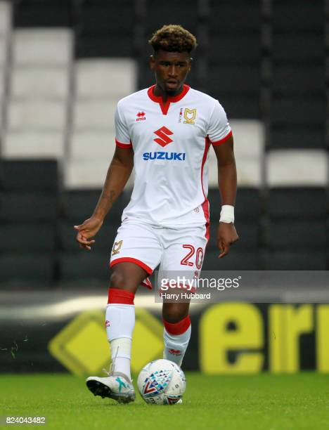 Aaron Tshibola of MK Dons in action during the preseason friendly match between MK Dons and Leicester City at StadiumMK on July 28 2017 in Milton...