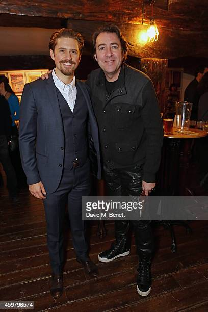 Aaron Tveit and Jonathan Ross attend the press night performance of Assassins at the Menier Chocolate Factory on December 1 2014 in London England
