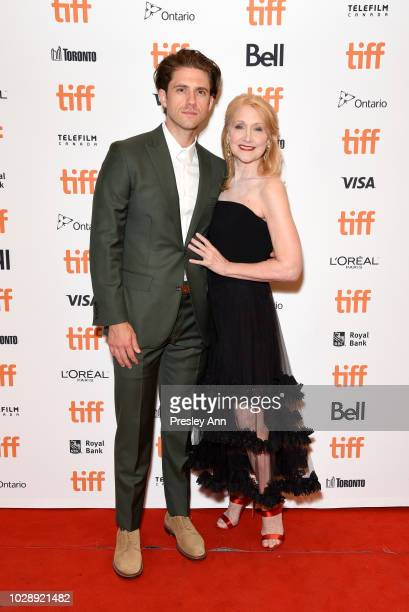 Aaron Tveit and Patricia Clarkson attend the Out Of Blue premiere during 2018 Toronto International Film Festival at Winter Garden Theatre on...