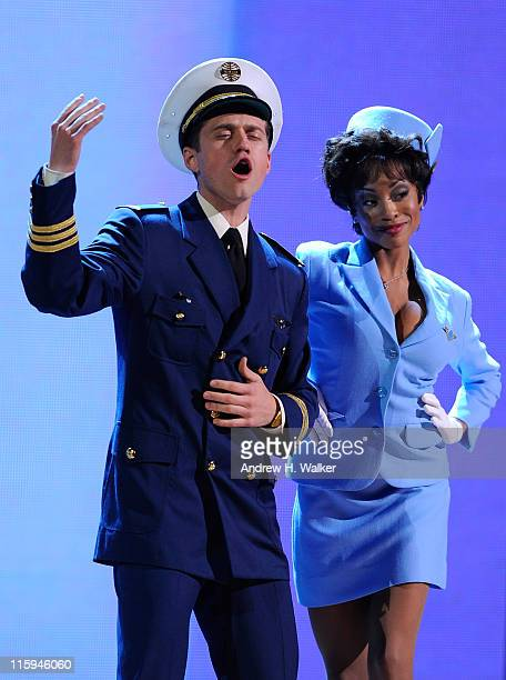 Aaron Tveit and the cast of Catch Me If You Can perform on stage during the 65th Annual Tony Awards at the Beacon Theatre on June 12 2011 in New York...