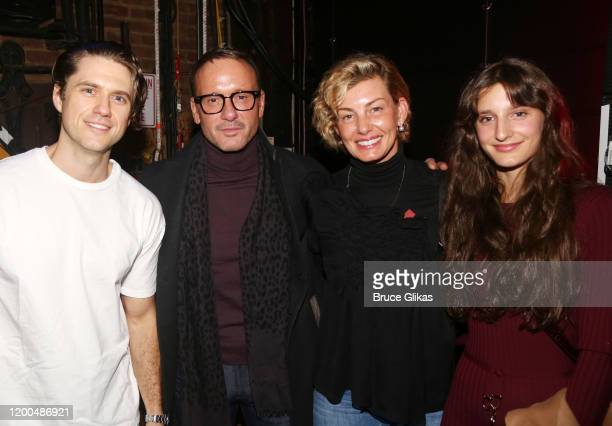 """Aaron Tveit, Tim McGraw, wife Faith Hill and daughter Audrey Caroline McGraw pose backstage at the hit musical based on the Baz Luhrmann film """"Moulin..."""
