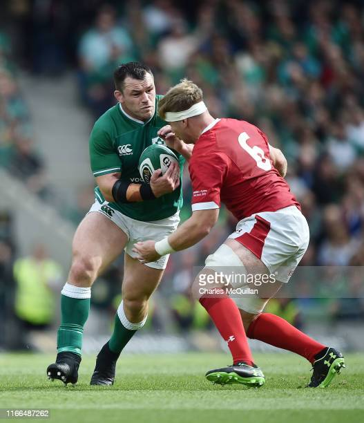 Aaron Wainwright of Wales and Cian Healy of Ireland during the Guinness Summer Series match between Ireland and Wales at Aviva Stadium on September...