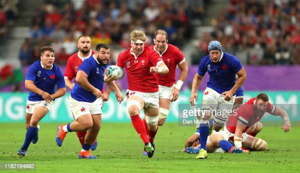 Aaron Wainwright of Wales breaks away to score his sides first try during the Rugby World Cup 2019 Quarter Final match between Wales and France at...