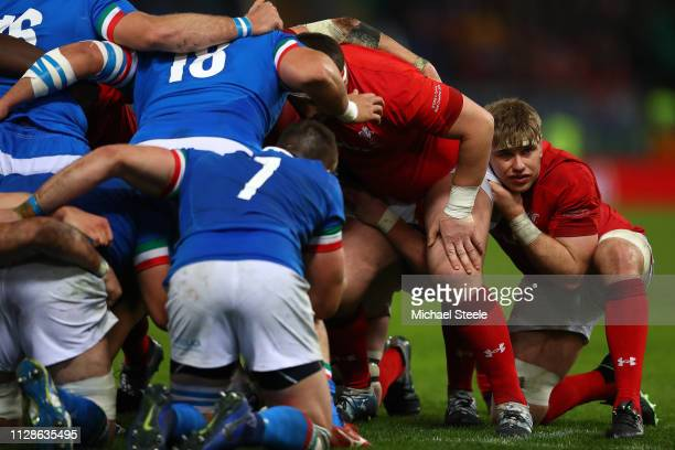 Aaron Wainwright of Wales during the Guinness Six Nations match between Italy and Wales at Stadio Olimpico on February 09 2019 in Rome Italy