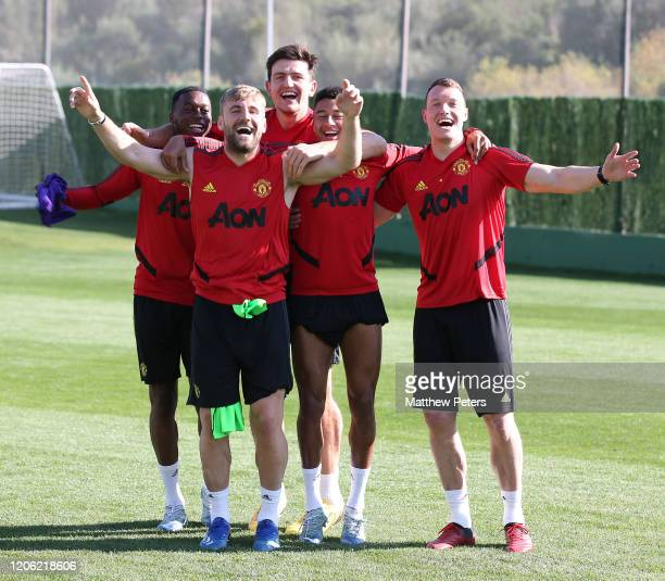 Aaron Wan-Bissaka, Luke Shaw, Harry Maguire, Jesse Lingard and Phil Jones of Manchester United in action during a first team training session on...