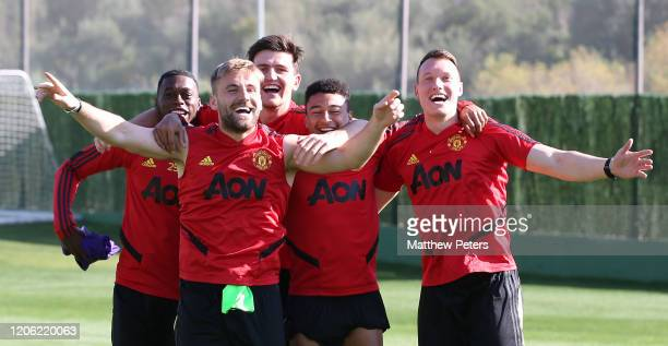 Aaron WanBissaka Luke Shaw Harry Maguire Jesse Lingard and Phil Jones of Manchester United in action during a first team training session on February...