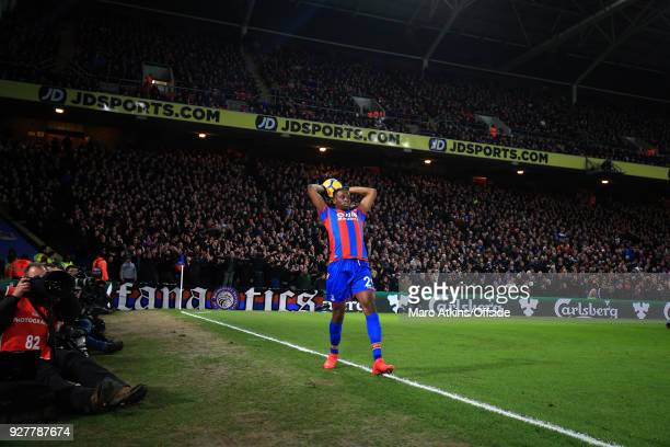 Aaron WanBissaka of Crystal Palace takes a throw in during the Premier League match between Crystal Palace and Manchester United at Selhurst Park on...