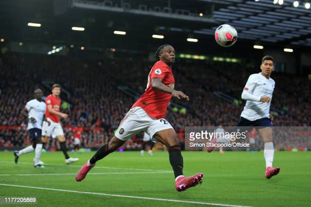 Aaron WanBissaka of Man Utd clears the ball during the Premier League match between Manchester United and Liverpool FC at Old Trafford on October 20...