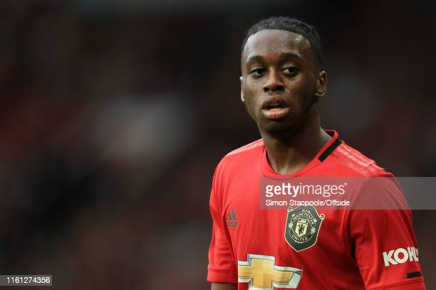 Aaron WanBissaka of Man Utd looks on during the Premier League match between Manchester United and Chelsea at Old Trafford on August 11 2019 in...