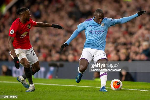 Aaron WanBissaka of Manchester United and Benjamin Mendy of Manchester City during the Premier League match between Manchester United and Manchester...