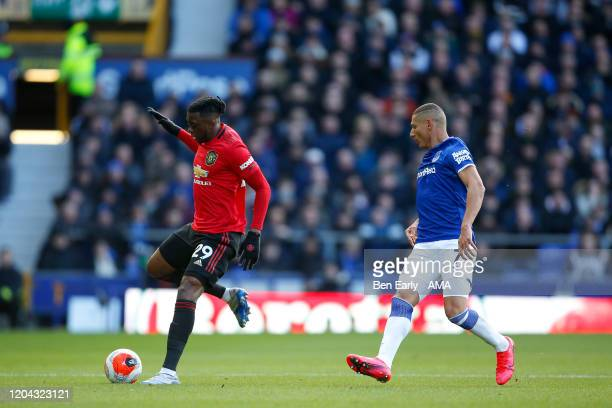 Aaron WanBissaka of Manchester United and Richardson of Everton FC during the Premier League match between Everton FC and Manchester United at...