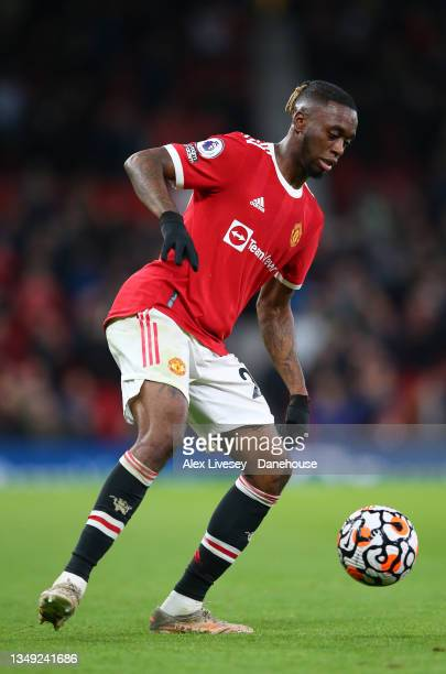 Aaron Wan-Bissaka of Manchester United controls the ball during the Premier League match between Manchester United and Liverpool at Old Trafford on...
