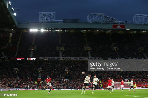 Aaron Wan-Bissaka of Manchester United crosses the ball during the Premier League match between Manchester United and Liverpool at Old Trafford on...