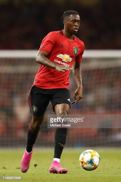 Aaron WanBissaka of Manchester United during the 2019 International Champions Cup match between Manchester United and AC Milan at Principality...