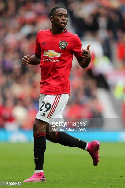 Aaron WanBissaka of Manchester United during the Premier League match between Manchester United and Chelsea FC at Old Trafford on August 11 2019 in...