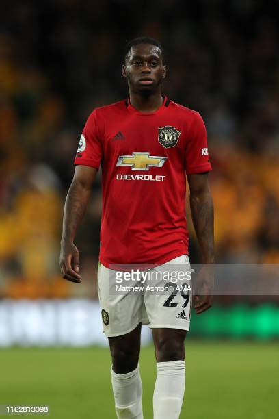 Aaron WanBissaka of Manchester United during the Premier League match between Wolverhampton Wanderers and Manchester United at Molineux on August 19...