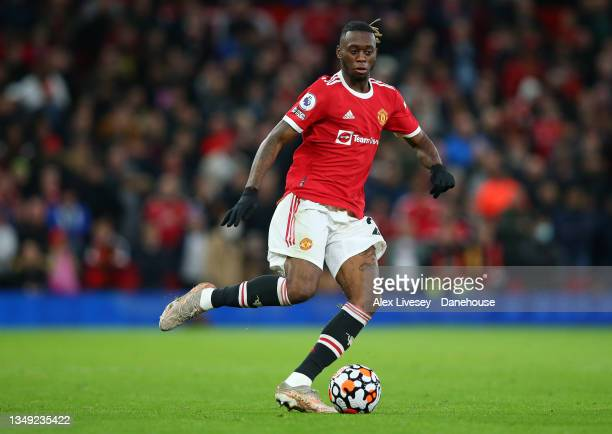 Aaron Wan-Bissaka of Manchester United during the Premier League match between Manchester United and Liverpool at Old Trafford on October 24, 2021 in...