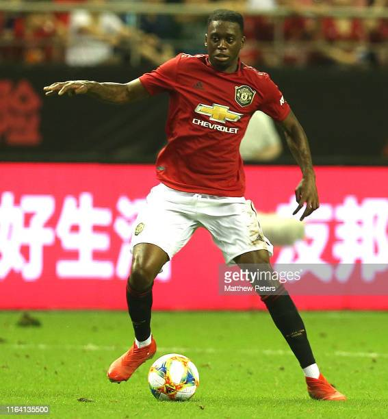 Aaron WanBissaka of Manchester United in action during the International Champions Cup match between Tottenham Hotspur and Manchester United at the...