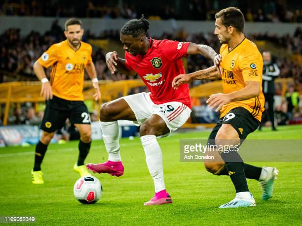 Aaron Wan-Bissaka of Manchester United in action during the Premier League match between Wolverhampton Wanderers and Manchester United at Molineux on...