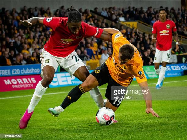 Aaron WanBissaka of Manchester United in action during the Premier League match between Wolverhampton Wanderers and Manchester United at Molineux on...