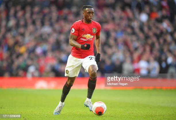 Aaron Wan-Bissaka of Manchester United in action during the Premier League match between Manchester United and Manchester City at Old Trafford on...