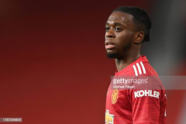 Aaron Wan-Bissaka of Manchester United in action during the Premier League match between Manchester United and Leeds United at Old Trafford on...