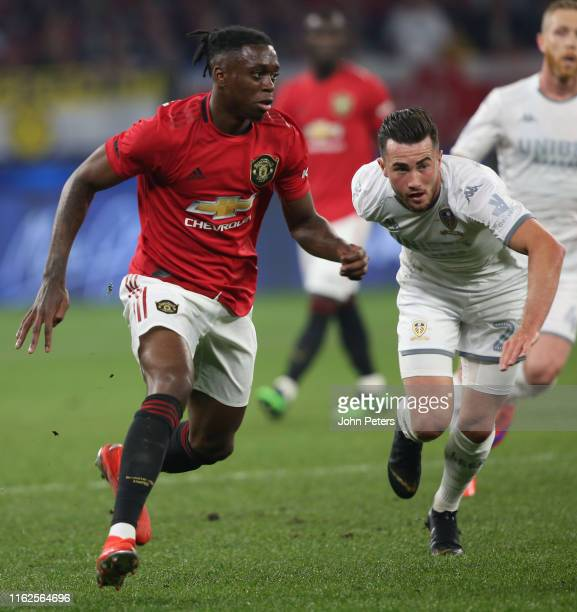 Aaron WanBissaka of Manchester United in action during the preseason friendly match between Manchester United and Leeds United at Optus Stadium on...