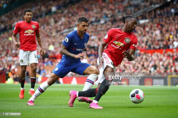 Aaron WanBissaka of Manchester United is challenged by Mason Mount of Chelsea during the Premier League match between Manchester United and Chelsea...