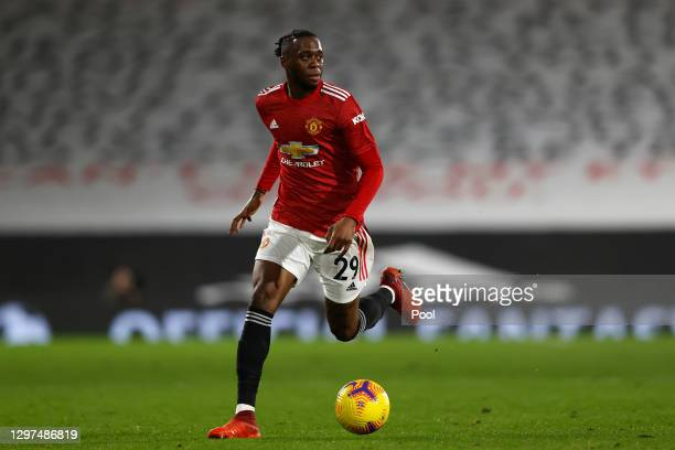 Aaron Wan-Bissaka of Manchester United rb during the Premier League match between Fulham and Manchester United at Craven Cottage on January 20, 2021...