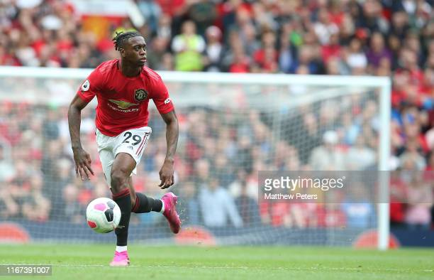 Aaron WanBissakaof Manchester United in action during the Premier League match between Manchester United and Chelsea FC at Old Trafford on August 11...