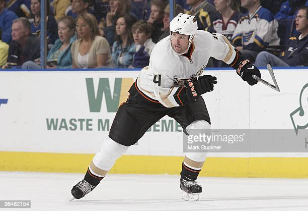 Aaron Ward of the Anaheim Ducks skates against the St Louis Blues on April 9 2010 at Scottrade Center in St Louis Missouri