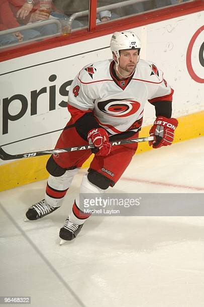 Aaron Ward of the Carolina Hurricanes looks on during a NHL hockey game against the Washington Capitals on December11 2009 at the Verizon Center in...