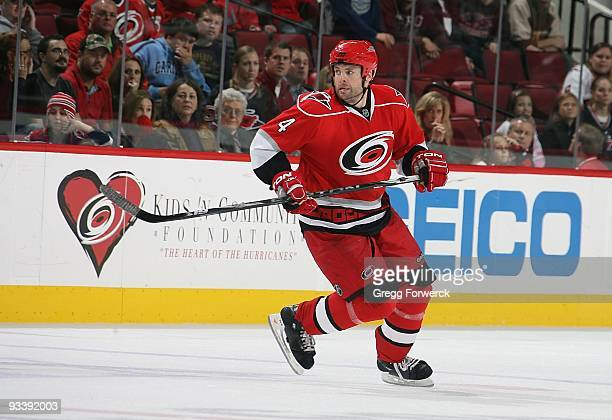 Aaron Ward of the Carolina Hurricanes skates for position on the ice during a NHL game against the Toronto Maple Leafs on November 15 2009 at RBC...