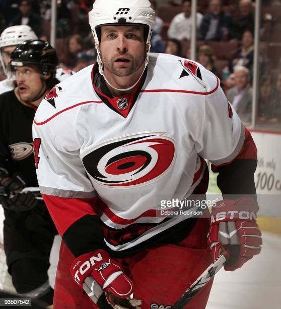 Aaron Ward of the Carolina Hurricanes skates on the ice against the Anaheim Ducks during the game on November 25 2009 at Honda Center in Anaheim...