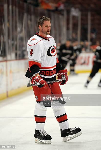 Aaron Ward of the Carolina Hurricanes warms up before the game against the Anaheim Ducks at the Honda Center on November 25 2009 in Anaheim California
