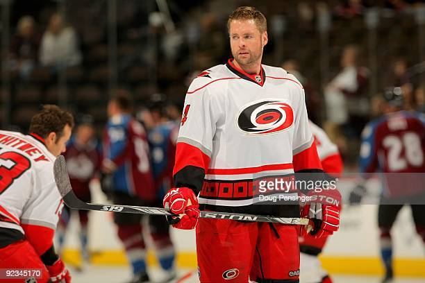 Aaron Ward of the Carolina Hurricanes warms up prior to facing the Colorado Avalanche during NHL action at the Pepsi Center on October 23 2009 in...