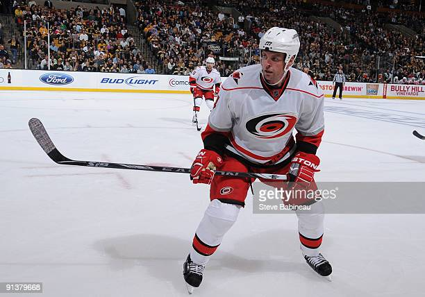 Aaron Ward of the Carolina Hurricanes watches the play against the Boston Bruins at the TD Banknorth Garden on October 3 2009 in Boston Massachusetts