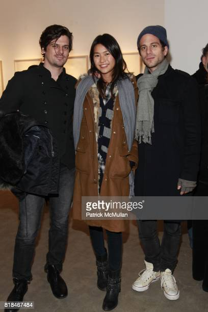 Aaron Ward Ying Yue Li and Peter Makebish attend PATTI SMITH and STEVEN SEBRING OBJECTS OF LIFE Opening Reception at Robert Miller Gallery on January...