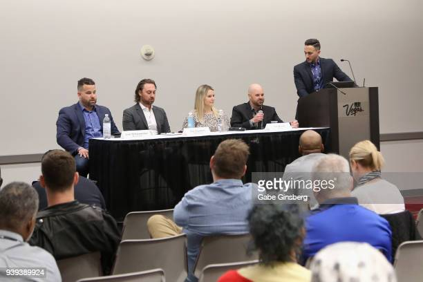 Aaron Wellman of RMD Group Tim Trendell of RMD Group guest speaker Tim Brand of C4 Live and Jason Mitchell of RMD Group speak during day three of the...