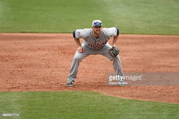 Aaron Westlake of the Detroit Tigers anticipates a play during a spring training game against the Atlanta Braves at Champion Stadium on March 7 2015...