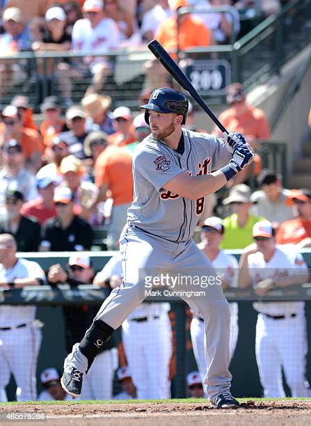 Aaron Westlake of the Detroit Tigers bats during the Spring Training game against the Baltimore Orioles at Ed Smith Stadium on March 4 2015 in...